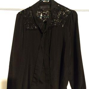 Kardashian Large Black Tie Blouse